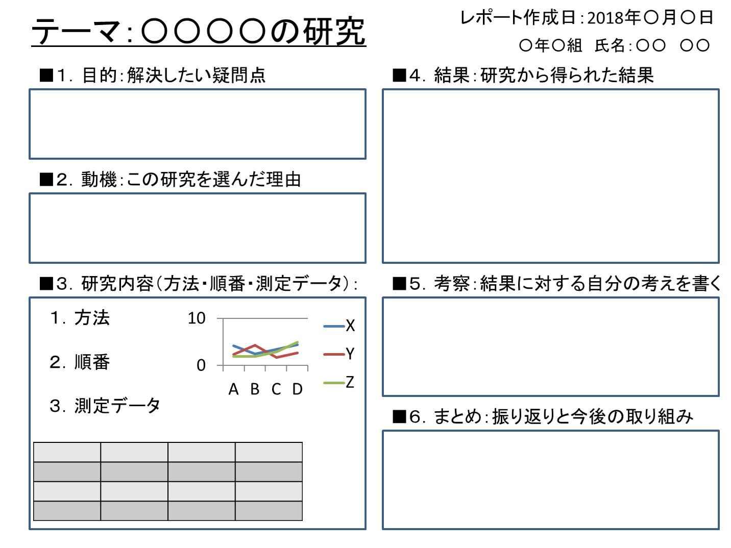 レポート用紙 自由研究